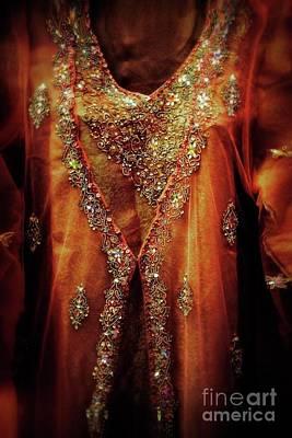 Golden Oriental Dress Art Print by Mythja Photography