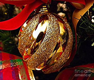 Photograph - Golden Ornament With Ribbons Expressionist Effect by Rose Santuci-Sofranko