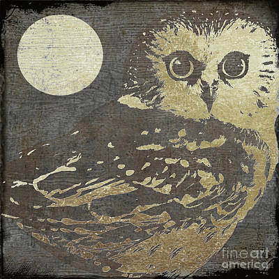 Birds Painting Rights Managed Images - Golden Owl Royalty-Free Image by Mindy Sommers