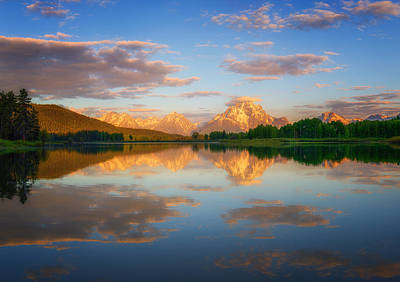 Teton Wall Art - Photograph - Golden Oxbow Light by Darren  White