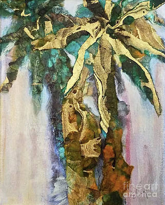 Palm Trees Mixed Media Mixed Media - Golden Palm by Sharon Eng