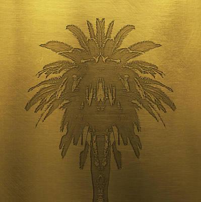 Golden Digital Art - Golden Palm Tree by Edouard Coleman