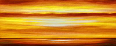 Painting - Golden Panoramic Abstract Sunset by Gina De Gorna