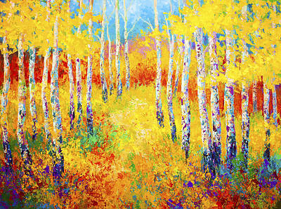 Birch Trees Painting - Golden Path by Marion Rose