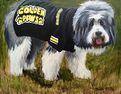 Mascot Drawing - Golden Paws by Dustin Miller