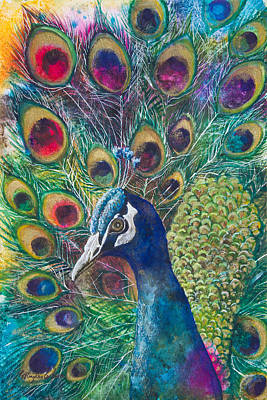 Birds Mixed Media Rights Managed Images - Golden Peacock Royalty-Free Image by Patricia Allingham Carlson