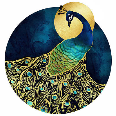 Peacock Digital Art - Golden Peacock by Spacefrog Designs