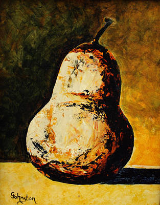 Golden Pear Print by Cindy Johnston