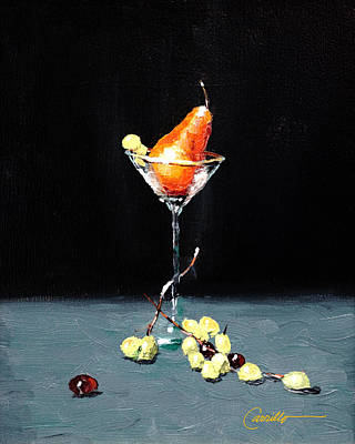 Ruben Carrillo Wall Art - Painting - Golden Pear Martini by Ruben Carrillo