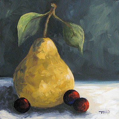 Pear Painting - Golden Pear With Grapes by Torrie Smiley