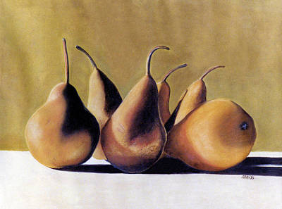 Pastel - Golden Pears 2 by Jan Amiss