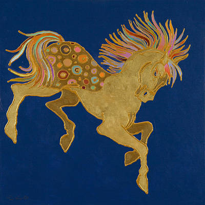 Art Print featuring the painting Golden Pegasus by Bob Coonts