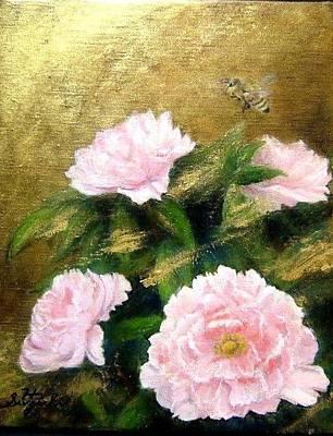 Pink Painting - Golden Peony by Hiroyuki Suzuki