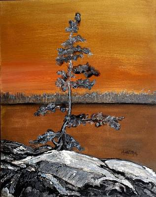 Painting - Golden Pine by Anne-D Mejaki - Art About You productions