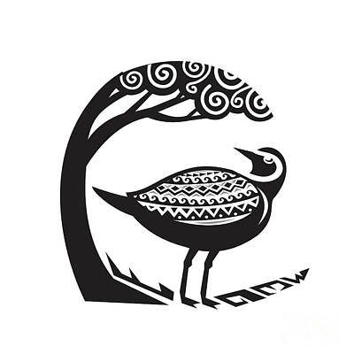 Golden Plover Standing Tree Tribal Art Art Print by Aloysius Patrimonio