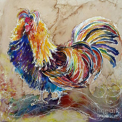 Art Print featuring the painting Golden Polish Chicken by Christy  Freeman