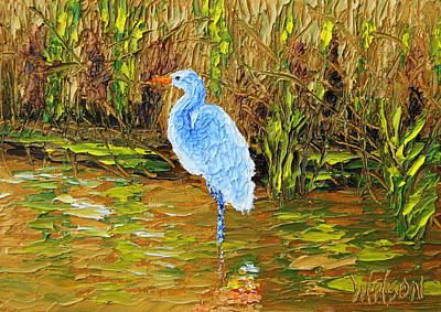 Painting - Golden Pond Heron by Chrys Wilson