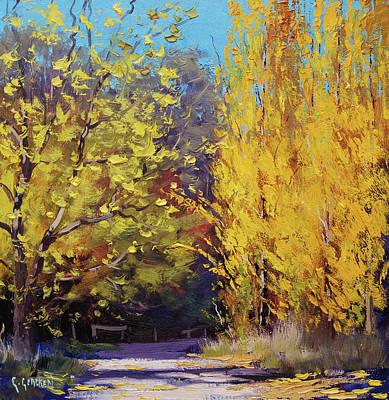 Maple Leaf Art Painting -  Golden Poplars by Graham Gercken