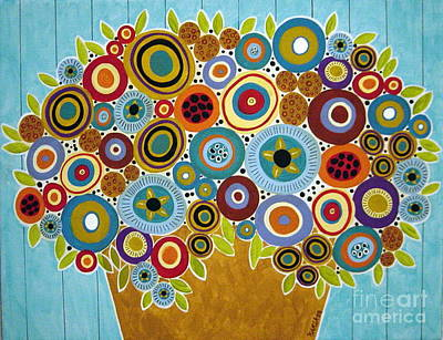 Folk Art Painting - Golden Pot Of Blooms by Karla Gerard