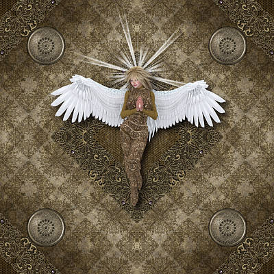 Good Luck Digital Art - Golden Praying Angel by Charm Angels