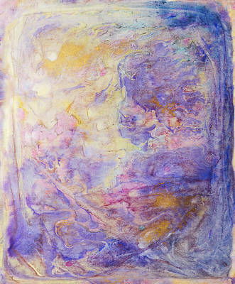 Painting - Golden Purple Ink Swirls by Peter V Quenter