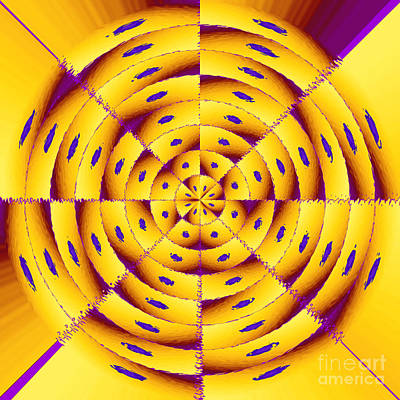 Algorithmic Digital Art - Golden Radial Abstract by Gaspar Avila