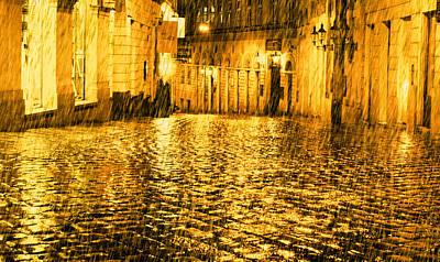 Jonny Jelinek Royalty-Free and Rights-Managed Images - Golden Rain in Vienna at Night by Jonny Jelinek