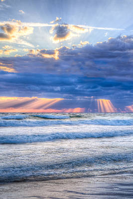 Golden Rays In Blue Art Print