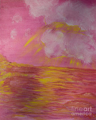 Dramatic Sky Sun Rays Painting - Golden Rays by Sally Davis