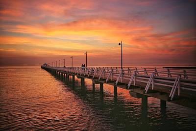 Golden Red Skies Over The Pier Art Print