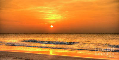 Photograph - Golden Reflection Atlantic Ocean Tybee Island Sunrise Art by Reid Callaway