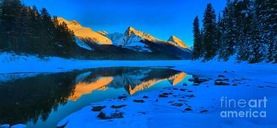 Photograph - Golden Reflections At Maligne by Adam Jewell