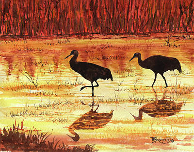 Dry Lake Painting - Golden Reflections by Timithy L Gordon
