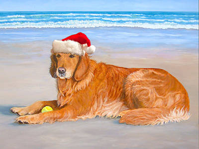 Art Print featuring the painting Golden Retreiver Holiday Card by Karen Zuk Rosenblatt
