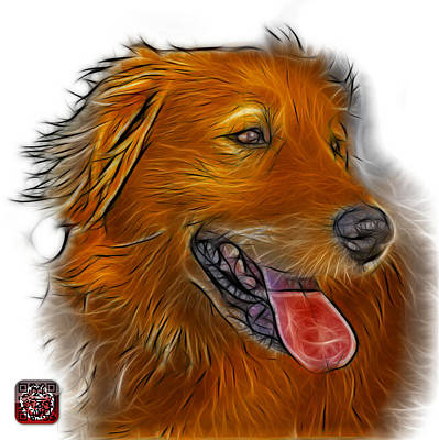 Art Print featuring the digital art Golden Retriever - 4057 Wb by James Ahn