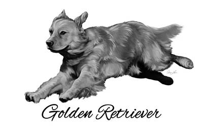 Retrievers Digital Art - Golden Retriever by Ann Lauwers