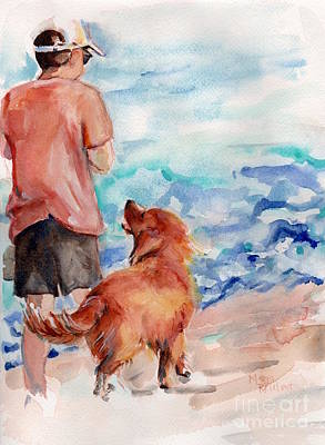 House Pet Painting - Golden Retriever At The Beach by Maria's Watercolor