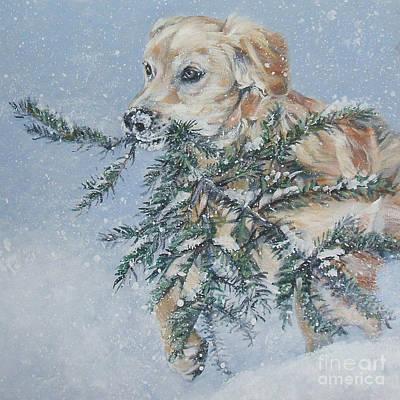 Golden Retriever Painting - Golden Retriever Christmas Greens by Lee Ann Shepard