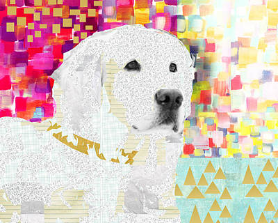 Art Deco Mixed Media - Golden Retriever Collage by Claudia Schoen