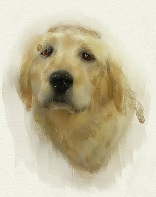 Digital Art - Golden Retriever by Crystal Hubbard
