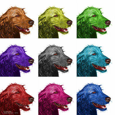 Painting - Golden Retriever Dog Art- 5421 - Wb - M by James Ahn