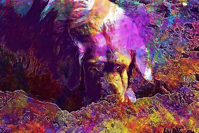 Golden Retriever Digital Art - Golden Retriever Dog Beach  by PixBreak Art