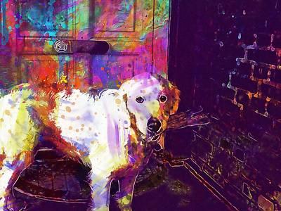 Golden Retriever Digital Art - Golden Retriever Dog Hungry Pet  by PixBreak Art