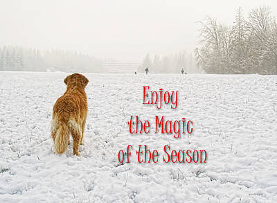 Golden Retriever Dog Magic Of The Season Art Print