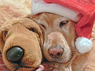 Golden Retriever Dog Santa Hat And Friend Art Print by Jennie Marie Schell