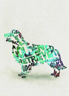 Golden Retriever Dog Watercolor Painting / Typographic Art Art Print