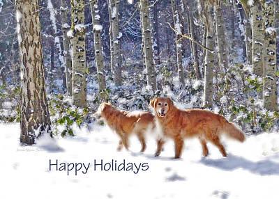 Golden Retriever Photograph - Golden Retriever Dogs In Winter   by Jennie Marie Schell