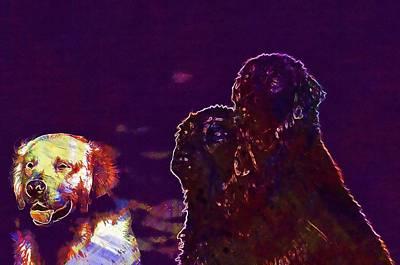 Retrievers Digital Art - Golden Retriever Flatcoated Retriever  by PixBreak Art