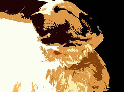 Puppy Digital Art - Golden Retriever by Franck Hodelin