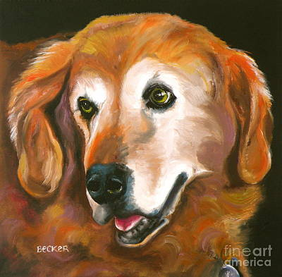 Golden Retriever Fur Child Art Print by Susan A Becker